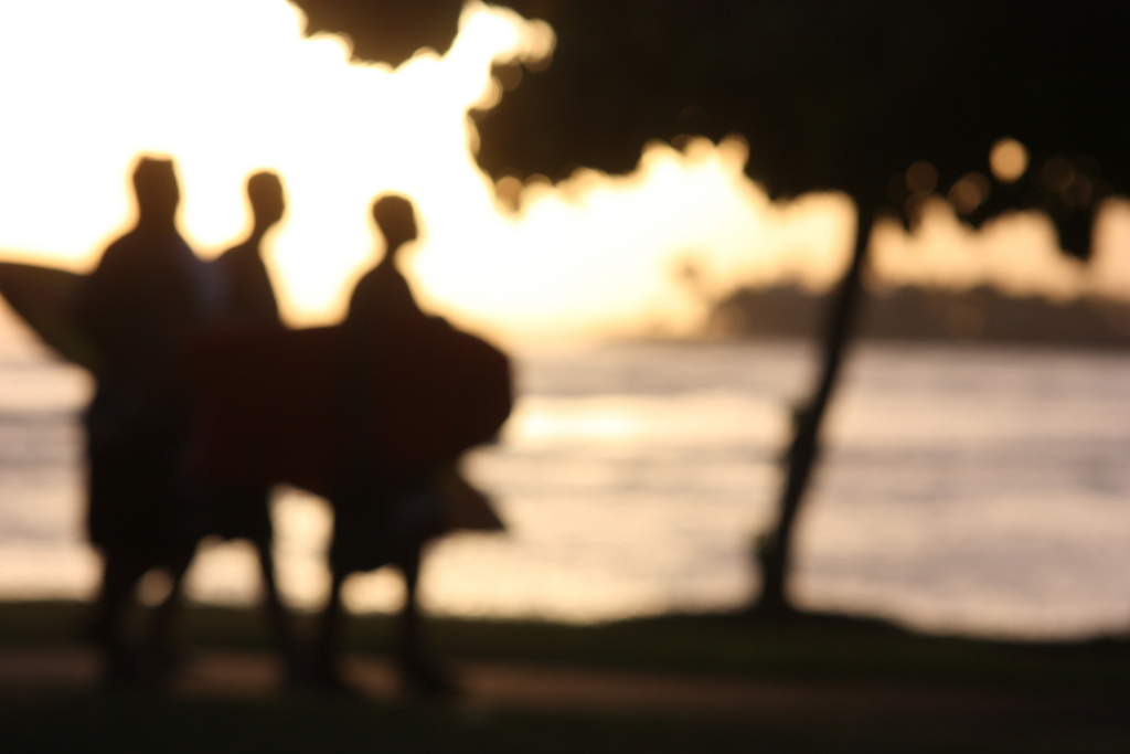 Surfers In Sunset - Hollander Maui Photography